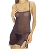 Sheer Black Chemise Babydoll Lingerie with Cream Lace Trim and Matching Lace Trimmed G-String