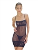Sheer Chemise Baby Doll Lingerie with Lace Trim and Matching Lace G-String