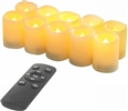 EcoGecko Set of 10 Indoor Outdoor Flameless Warm Glow Votive Candles with Remote and Timer, Battery Powered Fake Candles, Batteries Included