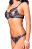 Lovely Day Lingerie Underwire Lace Bra With Matching Thong Set - Gray