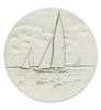 Set of 4 Stoneware Drink Coasters - Sailboat