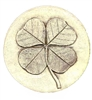 Set of 4 Stoneware Drink Coasters - Four Leaf Clover