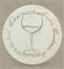 Set of 4 Stoneware Drink Coasters - Wine Glass