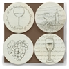 Set of 4 Stoneware Drink Coasters - Wine