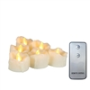 "Candle Choice 6-Pack Flameless Tealight Candles Bright Battery Operated LED Tea Lights/ Votives with Remote 1.5"" x 1.5"" Drips Long Lasting Party Wedding Birthday Holiday Home Decor Centerpiece Gift"