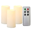 "3 Piece Waterproof Outdoor Flameless LED Candles - with Remote and Timer Realistic Flickering Battery Operated Powered Plastic Resin Pillar Candles by Qidea 3-Pack 3""x6"""