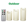 "Candle Choice Set of 3 Outdoor Flameless Candles with Remote and Timer, LED Pillar Candles, Weatherproof Battery Operated Candles, Long Battery Life, Size 3""x5"", 6"", and 7"""