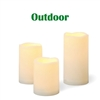 "Candle Choice 3 PCS Outdoor Flameless Candles with Timer, Realistic Flickering LED Pillar Candles, Weatherproof Battery Operated Candles, Long Battery Life 1500+ Hours, Melted Edge 3""x4"", 5"", 6"""