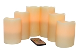 EcoGecko Set of 6 Wax Multi-Color Flameless LED Pillar Candles with Remote & Timer, Ivory