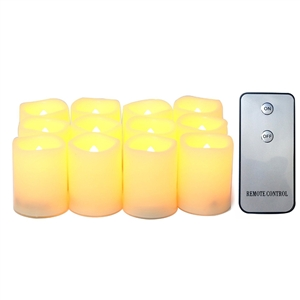 "Candle Choice 12-Pack Realistic Flameless Votive Candles Bright Battery Operated LED Votives with Remote 1.5""x2"" Long Battery Life Festival Party Wedding Birthday Holiday Home Décor Centerpiece Gift"